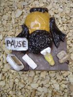 Foto 5 Tonfigur Keramikfigur Rabe am Schreibtisch Gartendeko Geschenk