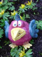 Tonfigur Keramikfigur Vogel Gartendeko Geschenk