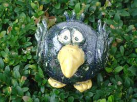 Tonfigur Keramikfigur Vogel blau Gartendeko Geschenk