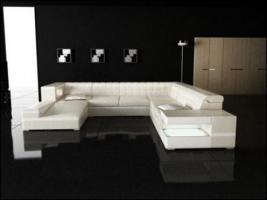 Top beige Designer Leder Couch / Ecksofa