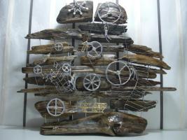 Treibholz Skulptur Kunst Unikat Dekoration Raum Deko Objekt Handarbeit Zinn Gold