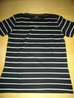 Foto 3 Trigema T-Shirt Größe L schwarz mit weißen und fliederfarbenen Streifen 1 mal getragen wie neu