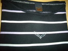 Foto 4 Trigema T-Shirt Größe L schwarz mit weißen und fliederfarbenen Streifen 1 mal getragen wie neu