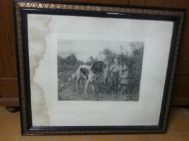 Foto 2 UNIKAT ? Bild Schwarz/Weiss, gr. Hund mit Bub` und Mädel Jahrgang 1893