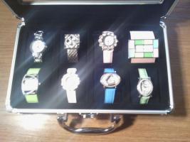 Foto 4 Uhrenkoffer aus Aluminium für 8 Uhren vollgefüllt mit hochwertigen Jay Baxter Damenuhren