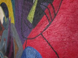 Foto 2 Ungewöhnliches Öl-Gemälde African Art - Trommler - ca. 95x75cm.