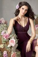 V-Ausschnitt Chiffon knielanges �rmelloses Brautjungfernkleid Dameo