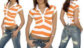 V-Ausschnitt Shirt, weiß/orange