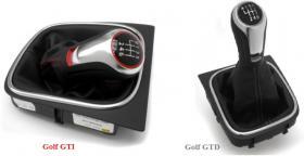 -VW Golf V-VI, REX, Jetta 4, Scirocco, Eos, Polo, Tiguan... SPORT GTI/GTD Alu Schaltknauf mit Ledermanschette