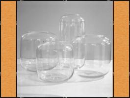 Vase, Pflanzgefäß, Windlicht, Glasgefäß - mit eingezogenem Rand