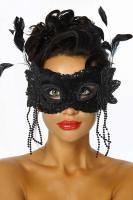 Venezianische Maske mit Pailettenbesatz schwarz Gr. OS - OVP - NEU