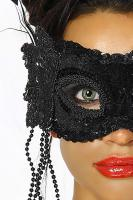 Foto 2 Venezianische Maske mit Pailettenbesatz schwarz Gr. OS - OVP - NEU
