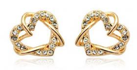 Verkaufe neue Swarovski Elements Herz Schmelz Gold Ohrringe