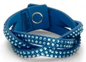 Verkaufe neues Swarovski Elements Slake Aqua Leder Armband
