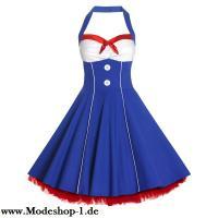 Vintage Style Blaues Rockabilly Pinup-Kleid