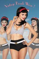 Vintage Wende-Bikini schwarz/weiß Gr. Large (L) - OVP - NEU