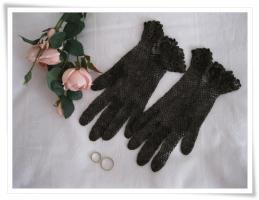Vintage- Netzhandschuh, Hochzeitshandschuh, braun , Größe S