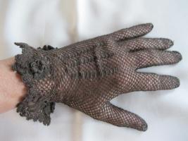Foto 2 Vintage- Netzhandschuh, Hochzeitshandschuh, braun , Größe S