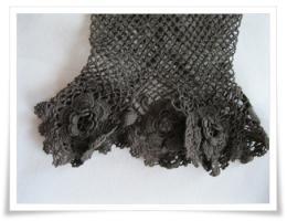 Foto 3 Vintage- Netzhandschuh, Hochzeitshandschuh, braun , Größe S
