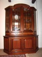 Foto 2 Vitrinenschrank Nußbaum Antik, mit Intarsien, Bleiglas, Beleuchtung, TOP Zustand