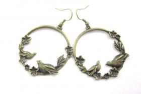 ' Vogel - Pärchen ' Vintage Ohrringe