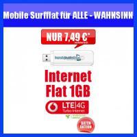 Wahnsinn! Vodafone Datenflat Internetflat nur 7,95 Euro monatl.- Surflatrate für Notebooks - der Knaller, nur bis 28.06.2013