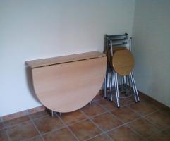 wandklapptisch neuwertig mit 3 neuen klappst hlen in eching buche holz. Black Bedroom Furniture Sets. Home Design Ideas