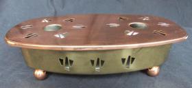 Warmhalteplatte, Speisewärmer m. Teelicht, aus Messing und Kupfer