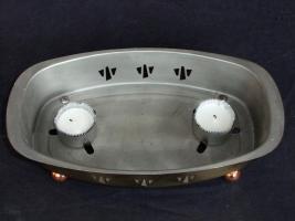 Foto 3 Warmhalteplatte, Speisewärmer m. Teelicht, aus Messing und Kupfer
