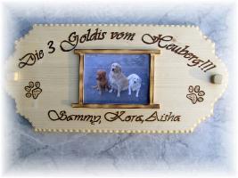 Warnschild aus Holz und mit Foto von deinem Liebling
