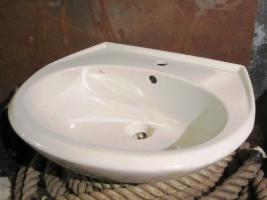 Waschbecken, Keramik, weiß