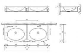 Foto 2 Waschtisch Waschbecken Corian Design Doppelwaschbecken