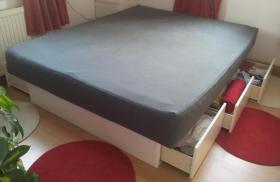 Wasserbett mit 6 großen Schubladen, 160x200, weiß, super Zustand!