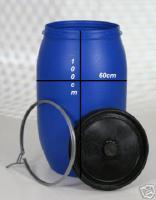 Wassertonne, Plastiktonne, Kunststofffaß, blau, ca. 220