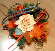 Weihnachts oder Tischdeko Gesteck mit Licht