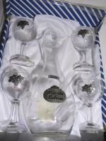 Foto 2 Wein-Set Etain 5-tlg. mit Karaffe: Glas mit Zinn ''Traubenernte'' € 60, - versandfrei