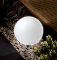 Weiße Solarkugel 30 cm mit 2 hellen LEDs in Echtglas-Design