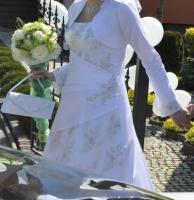Foto 4 Weisses Hochzeitskleid mit Spitze, 40
