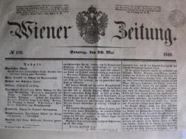 Wiener Zeitung aus dem Jahre 1849