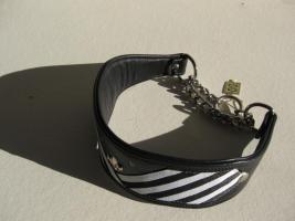 Windhundhalsband HW 36-38cm Swarovski schwarz-wei�