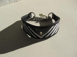Foto 3 Windhundhalsband HW 36-38cm Swarovski schwarz-wei�