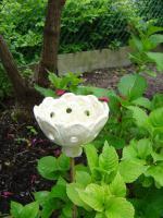 Windlicht Blume Bl�te perlmutt Garten Terrasse Balkon Dekoration Geschenk