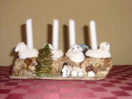 Winter Dekoration mit Kerzen