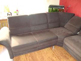 Wohnlandschaft, Couch aus Microfaser dunkelbraun 3 Jahre alt
