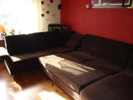 Foto 3 Wohnlandschaft, Couch aus Microfaser dunkelbraun 3 Jahre alt