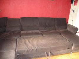 Foto 4 Wohnlandschaft, Couch aus Microfaser dunkelbraun 3 Jahre alt