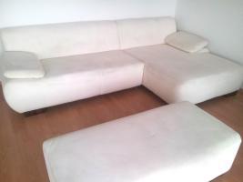 Wohnlandschaft, große Couch / Sofa, weiß, & Hocker, Top-Zustand, Schnäppchen!