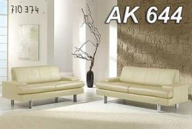 Wohnzimmer-garnitur 2- und 3-Sitzer. Design Rolf Benz, cr�mefarben. Leder.