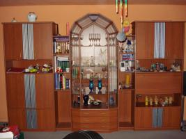 Wohnzimmer - Schrankwand und Ledergarnitur