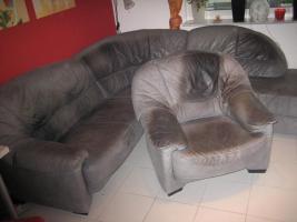 Wohnzimmercouch mit Sessel/ Nubukleder